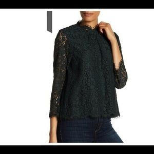 Joie Frayda Forest Green Lace Blouse